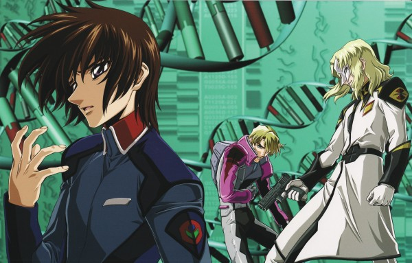 Tags: Anime, Mobile Suit Gundam SEED, Mobile Suit Gundam SEED Destiny, Kira Yamato, Rau Le Creuset, Mwu La Flaga, Official Art