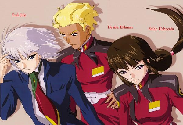 Tags: Anime, Hirai Hisashi, Sunrise (Studio), Mobile Suit Gundam SEED, Dearka Elsman, Yzak Joule, Shiho Hahnenfub, Official Art, Scan