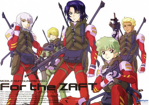 Tags: Anime, Hirai Hisashi, Sunrise (Studio), Mobile Suit Gundam SEED, Nicol Amalfi, Dearka Elsman, Athrun Zala, Yzak Joule, Rocket Launcher, Soldier, Grenade, Miguel Aiman, Scan