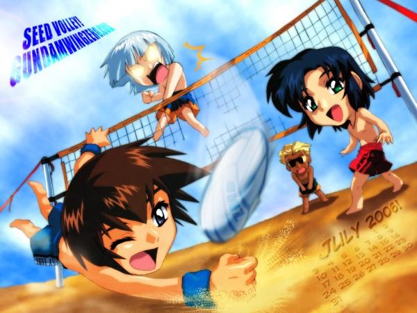 Tags: Anime, Mobile Suit Gundam SEED, Dearka Elsman, Athrun Zala, Yzak Joule, Kira Yamato, Volleyball, Wallpaper, Calendar (Source)