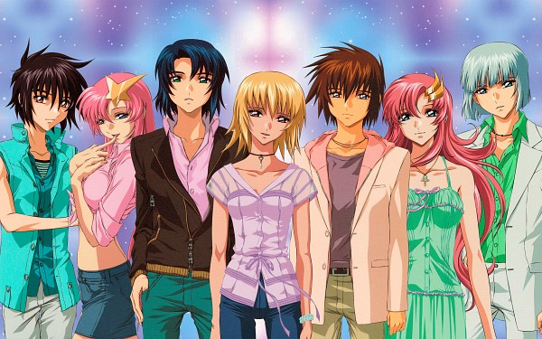 Tags: Anime, Mobile Suit Gundam SEED, Mobile Suit Gundam SEED Destiny, Lacus Clyne, Shinn Asuka, Athrun Zala, Kira Yamato, Yzak Joule, Meer Campbell, Cagalli Yula Athha, HD Wallpaper, Official Art, Wallpaper