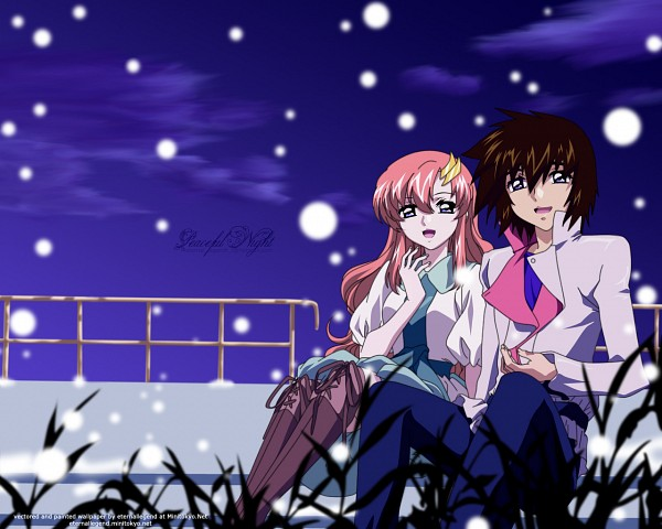 Tags: Anime, Mobile Suit Gundam SEED, Mobile Suit Gundam SEED Destiny, Kira Yamato, Lacus Clyne, Edited, Wallpaper, Fanmade Wallpaper