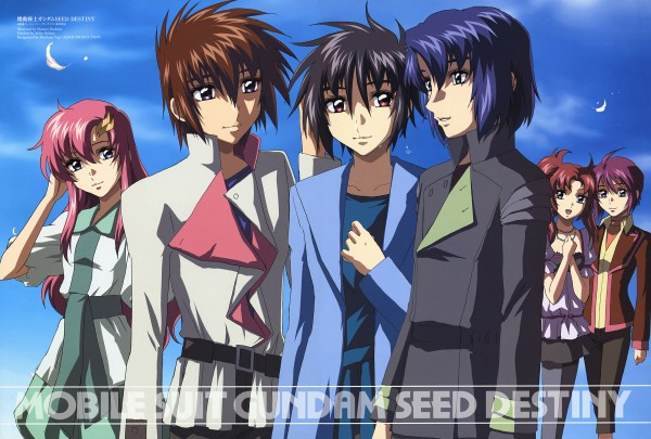 Tags: Anime, Mobile Suit Gundam SEED Destiny, Lunamaria Hawke, Athrun Zala, Meyrin Hawke, Kira Yamato, Shinn Asuka, Lacus Clyne, Official Art