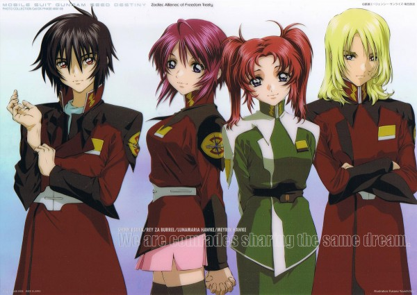 Tags: Anime, Mobile Suit Gundam SEED Destiny, Rey Za Burrel, Shinn Asuka, Lunamaria Hawke, Meyrin Hawke
