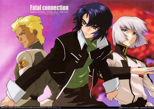 Tags: Anime, Hirai Hisashi, Sunrise (Studio), Mobile Suit Gundam SEED Destiny, Yzak Joule, Dearka Elsman, Athrun Zala, Scan, Official Art