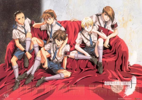 Tags: Anime, Mobile Suit Gundam Wing, Quatre Raberba Winner, Heero Yuy, Trowa Barton, Duo Maxwell, Chang Wufei, Official Art, Scan