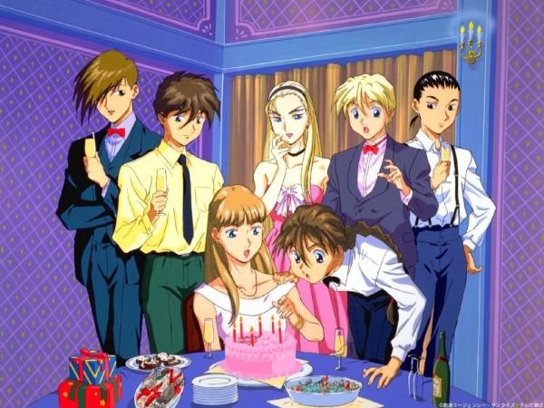 Tags: Anime, Mobile Suit Gundam Wing, Chang Wufei, Relena Peacecraft, Quatre Raberba Winner, Dorothy Catalonia, Heero Yuy, Trowa Barton, Duo Maxwell, Pie, Champagne, Blowing