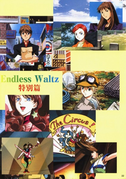 Tags: Anime, Mobile Suit Gundam Wing, Trowa Barton, Duo Maxwell, Quatre Raberba Winner, Catherine Bloom, Lady Une, Scan, Official Art, Collage