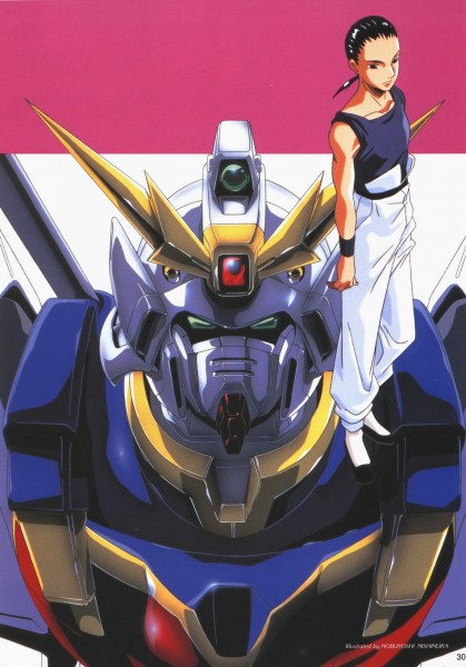 Tags: Anime, Mobile Suit Gundam Wing, Chang Wufei, Official Art, Scan