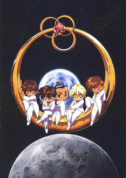Tags: Anime, Sunrise (Studio), Mobile Suit Gundam Wing, Duo Maxwell, Chang Wufei, Quatre Raberba Winner, Heero Yuy, Trowa Barton, Official Art, Scan
