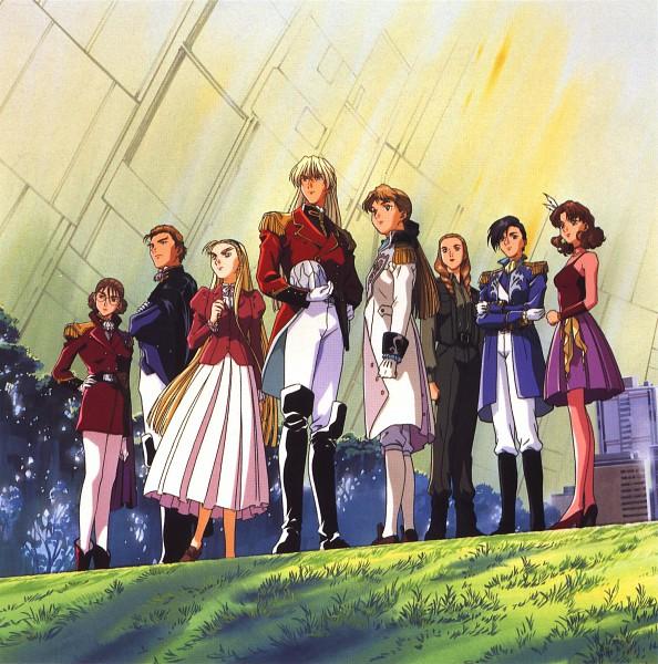 Tags: Anime, Sunrise (Studio), Mobile Suit Gundam Wing, Lady Une, Lucrezia Noin, Treize Khushrenada, Dorothy Catalonia, Relena Peacecraft, Catherine Bloom, Zechs Merquise, Sally Po, Scan, Official Art