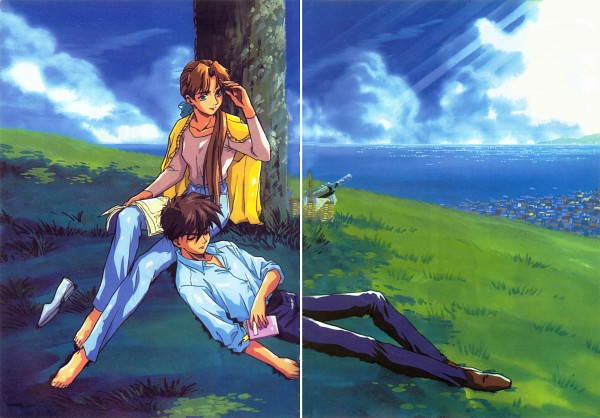 Tags: Anime, Sunrise (Studio), Mobile Suit Gundam Wing, Heero Yuy, Relena Peacecraft, Under A Tree, Scan, Official Art