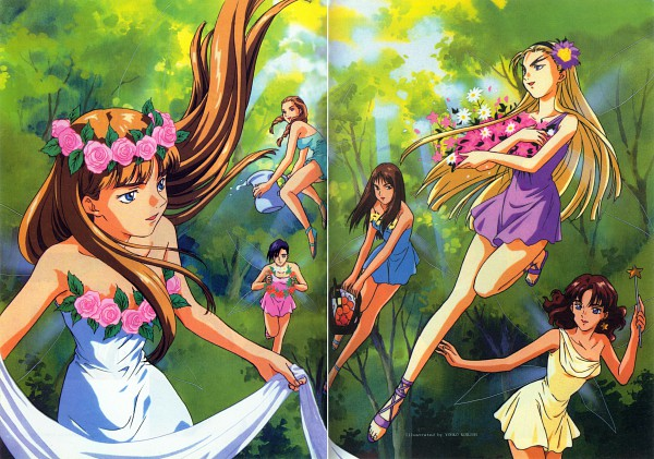Tags: Anime, Sunrise (Studio), Mobile Suit Gundam Wing, Catherine Bloom, Sally Po, Lady Une, Lucrezia Noin, Relena Peacecraft, Dorothy Catalonia, Official Art, Scan