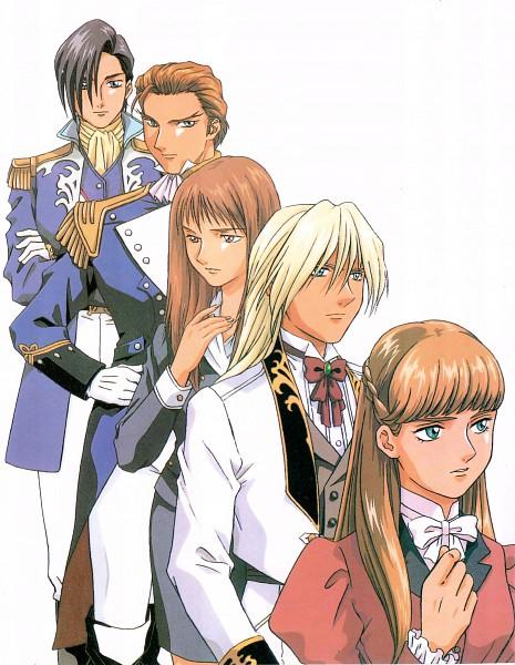 Tags: Anime, Sunrise (Studio), Mobile Suit Gundam Wing, Lady Une, Treize Khushrenada, Relena Peacecraft, Zechs Merquise, Lucrezia Noin, Scan, Official Art