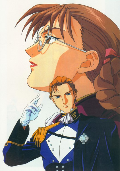 Tags: Anime, Sunrise (Studio), Mobile Suit Gundam Wing, Treize Khushrenada, Lady Une, Scan, Official Art