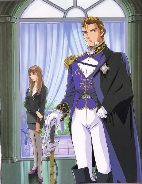 Tags: Anime, Sunrise (Studio), Mobile Suit Gundam Wing, Lady Une, Treize Khushrenada, Scan, Official Art