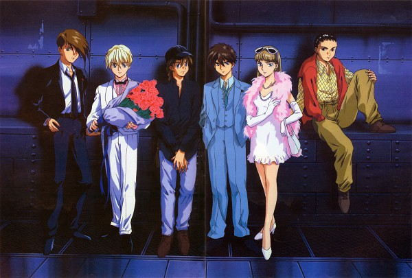 Tags: Anime, Sunrise (Studio), Mobile Suit Gundam Wing, Trowa Barton, Duo Maxwell, Chang Wufei, Relena Peacecraft, Quatre Raberba Winner, Heero Yuy, Boa, Official Art, Scan