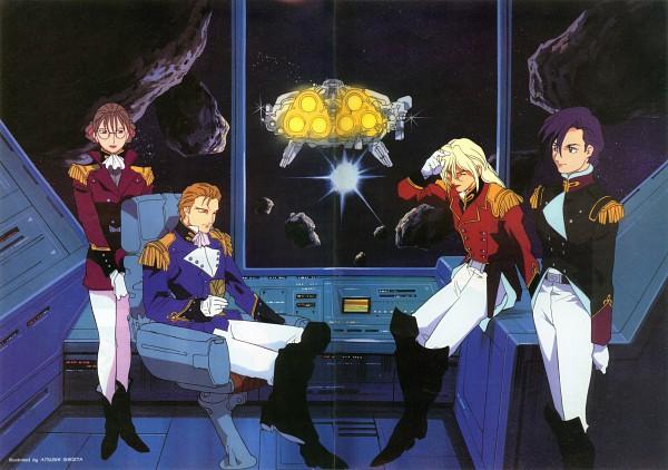 Tags: Anime, Sunrise (Studio), Mobile Suit Gundam Wing, Zechs Merquise, Lucrezia Noin, Lady Une, Treize Khushrenada, Spaceship, Official Art, Scan