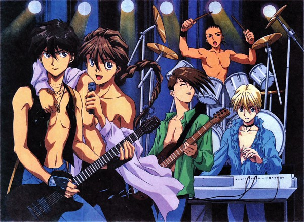 Tags: Anime, Sunrise (Studio), Mobile Suit Gundam Wing, Trowa Barton, Duo Maxwell, Chang Wufei, Quatre Raberba Winner, Heero Yuy, Bass Guitar, Keyboard (Instrument), Drum, Scan, Official Art