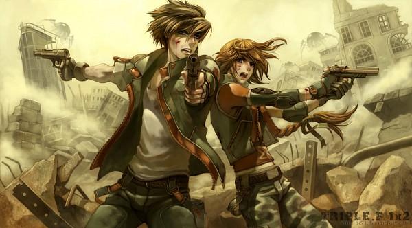 Tags: Anime, Virus Ac74, Mobile Suit Gundam Wing, Heero Yuy, Duo Maxwell, Aiming At Camera, Fanart, deviantART, Facebook Cover