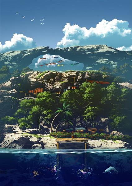 Tags: Anime, Mocha Cotton, Dolphin, Turtle, Fishing, Island, Original, Mobile Wallpaper