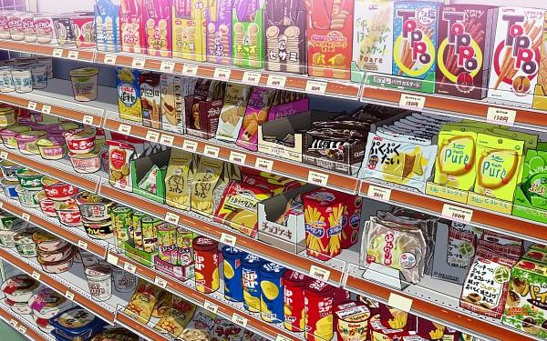 Tags: Anime, Mocha Cotton, Market, M&M'S (Chocolate), No Character, Shelf, Potato, Toppo, Ramen, Chips, Cup Noodle, Original, Wallpaper