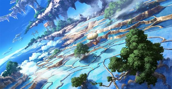 Tags: Anime, Mocha Cotton, Floating Island, Pixiv, Original, Facebook Cover
