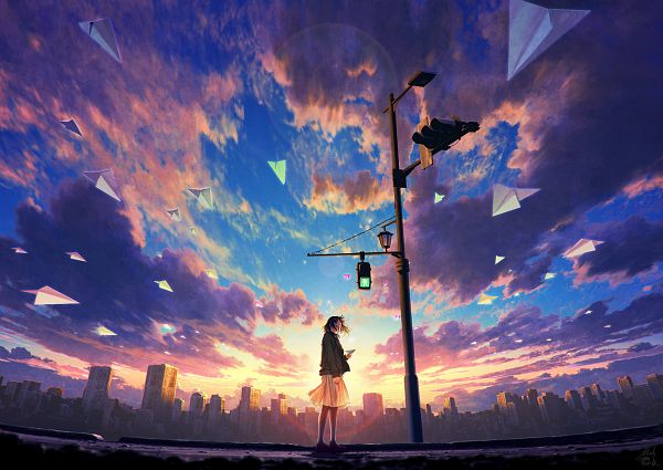 Tags: Anime, Mocha Cotton, Red Sky, Yellow Skirt, Pole, Light Pole, Traffic Light, Pixiv, Original
