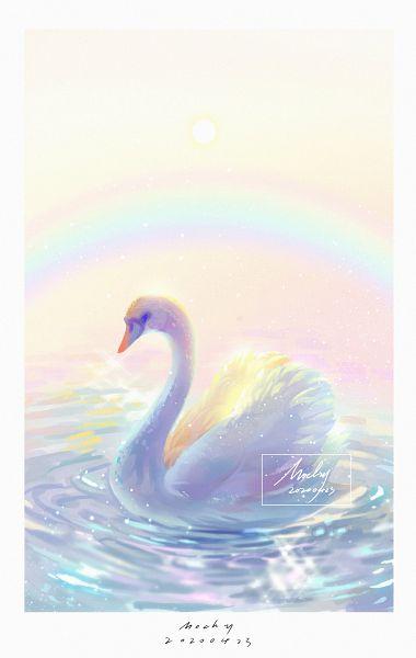 Tags: Anime, Mochy, Rainbow Colors, Swan, Original