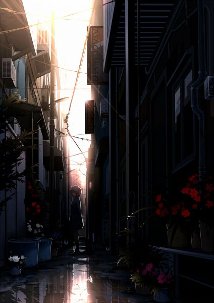 Tags: Anime, Mogumo, Water Reflection, Bucket, Puddle, Machine, Alley, Mobile Wallpaper, Pixiv, Original