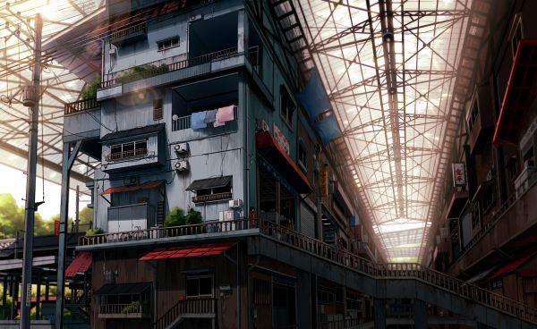 Tags: Anime, Mogumo, Roof, Balcony, Wallpaper, Original