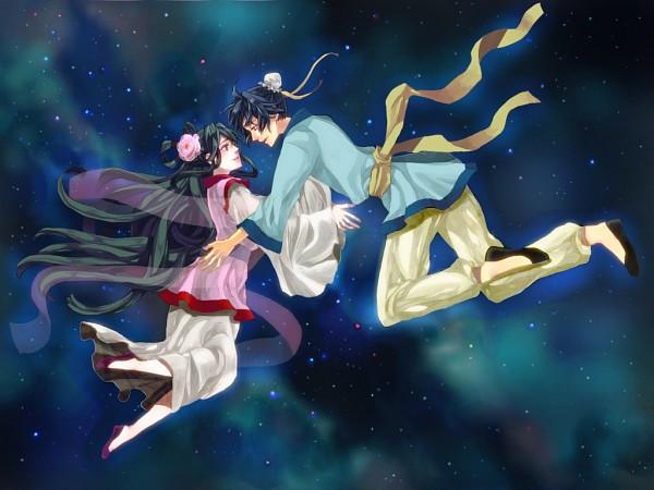 Tags: Anime, Mogupen, Hikoboshi, Orihime (Goddess), Tanabata, Fanart, Fanart From Pixiv, Pixiv