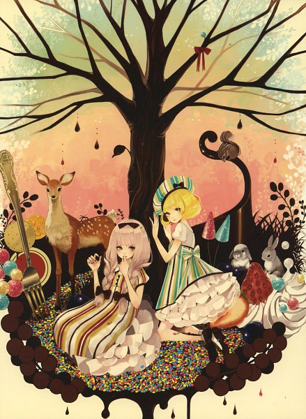 Tags: Anime, Mokaffe, Deer, Squirrel, Pixiv, Original