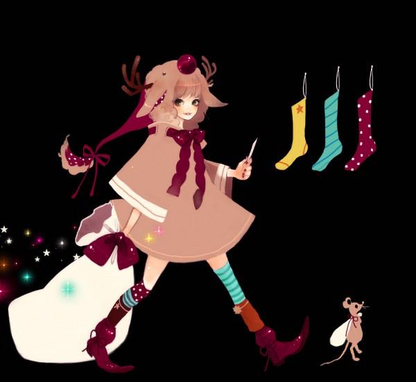 Tags: Anime, Mokaffe, Christmas Stocking, Reindeer Costume, Spotted Legwear, Pixiv, Original