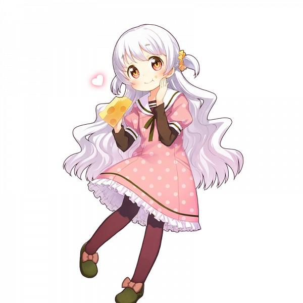 Tags: Anime, CyberAgent, Mahou Shoujo Madoka☆Magica, Uchi no Hime-sama ga Ichiban Kawaii, Momoe Nagisa, Spotted Dress, Cheese, Green Ribbon, Green Footwear, Official Art, PNG Conversion, Artist Request