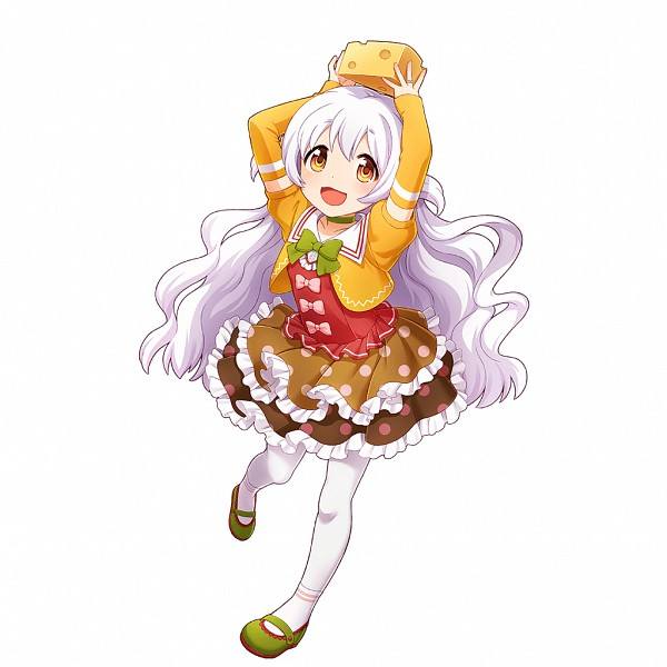 Tags: Anime, CyberAgent, Mahou Shoujo Madoka☆Magica, Uchi no Hime-sama ga Ichiban Kawaii, Momoe Nagisa, Cheese, Green Footwear, Brown Skirt, Spotted Skirt, PNG Conversion, Artist Request, Official Art
