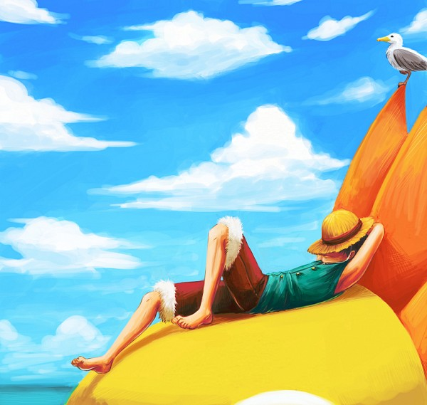 Tags: Anime, FerioWind, ONE PIECE, Monkey D. Luffy, Thousand Sunny, Red Pants, Seagull, Fanart From DeviantART, deviantART, PNG Conversion, Fanart