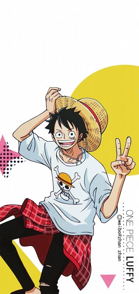 Tags: Anime, ONE PIECE, Monkey D. Luffy, 1080x2280 Wallpaper, Two-finger Salute, 9:19 Ratio, Official Art, Wallpaper, Mobile Wallpaper, deviantART, One Piece: Two Years Later, Straw Hat Pirates