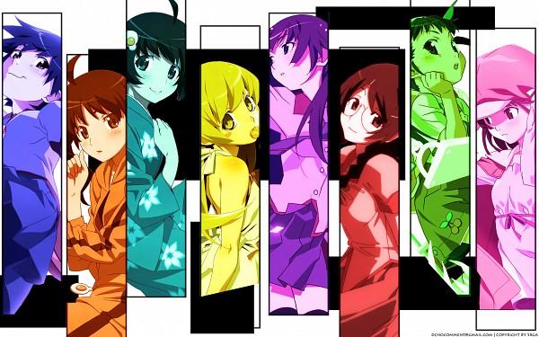 Tags: Anime, Monogatari, Kanbaru Suruga, Sengoku Nadeko, Hanekawa Tsubasa, Hachikuji Mayoi, Araragi Tsukihi, Senjougahara Hitagi, Araragi Karen, Oshino Shinobu, HD Wallpaper, Wallpaper