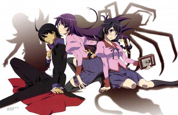 Tags: Anime, Watanabe Akio, Shaft (Studio), Monogatari, Monogatari Series Heroine Book Volume 1 - Hanekawa Tsubasa, Araragi Koyomi, Hanekawa Tsubasa, Senjougahara Hitagi, Official Art, Scan