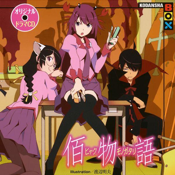 Tags: Anime, Shaft (Studio), Monogatari, Hanekawa Tsubasa, Senjougahara Hitagi, Araragi Koyomi, Official Art
