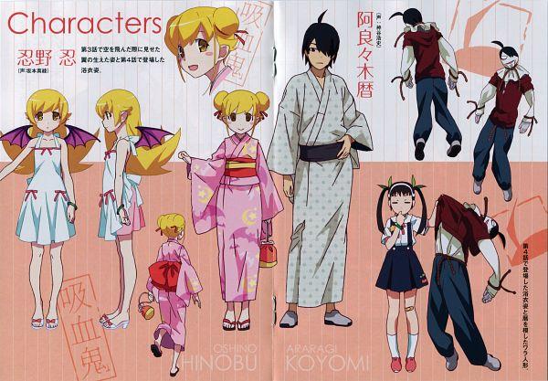 Tags: Anime, Shaft (Studio), Monogatari Series: Second Season, Monogatari, Hachikuji Mayoi, Araragi Koyomi, Oshino Shinobu, Scan, Official Art, Character Sheet