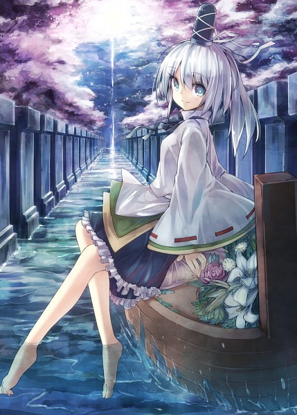 Tags: Anime, teco, Touhou, Mononobe no Futo, Boat, Soaking Feet, Fanart, Fanart From Pixiv, Mobile Wallpaper, Pixiv