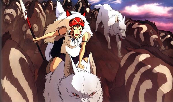 Tags: Anime, Studio Ghibli, Mononoke Hime, Moro (Mononoke Hime), San (Mononoke Hime), Official Art, Princess Mononoke