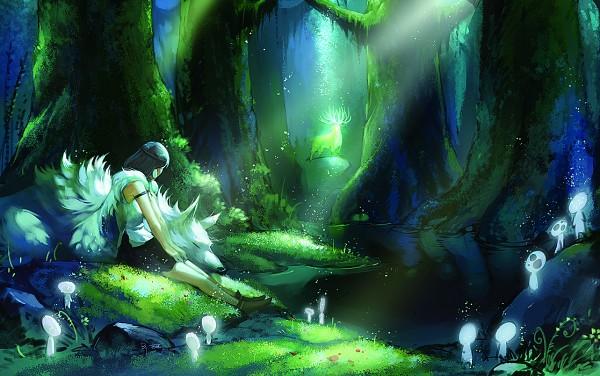 Tags: Anime, Narrator366, Mononoke Hime, Kodama (Spirit), Moro (Mononoke Hime), San (Mononoke Hime), Sitting On Grass, Pixiv, Fanart From Pixiv, Fanart, Princess Mononoke