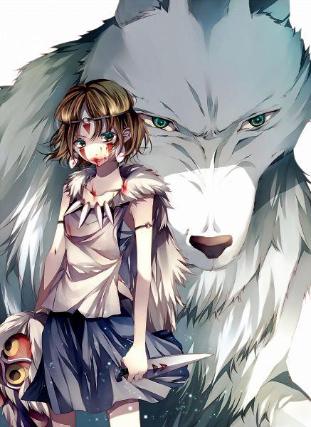 Tags: Anime, Tsukioka Tsukiho, Mononoke Hime, San (Mononoke Hime), Pixiv, Mobile Wallpaper, PNG Conversion, Princess Mononoke
