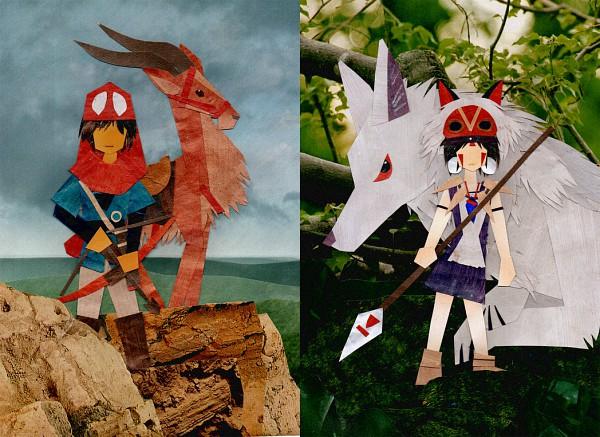 Tags: Anime, Botjira, Mononoke Hime, San (Mononoke Hime), Prince Ashitaka, Moro (Mononoke Hime), Yakult, Elk (Animal), Princess Mononoke