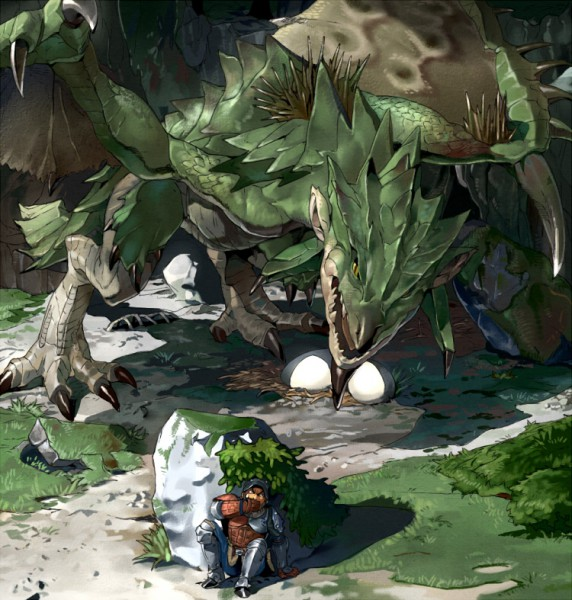 Tags: Anime, Pixiv Id 66760, Monster Hunter Series, Rathian, Hiding