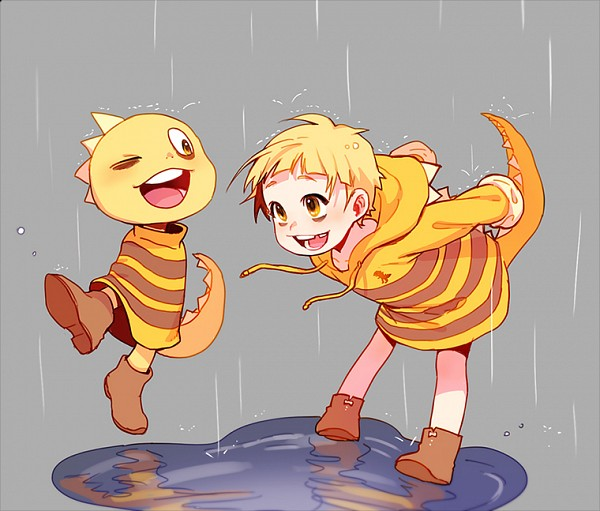 Tags: Anime, Tkdvlf2, Undertale, Monster Kid, Water Reflection, Striped Outerwear, Puddle, Rain Coat, Missing Teeth, Twitter, Fanart, PNG Conversion