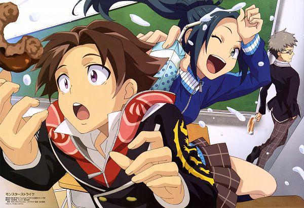 Tags: Anime, Studio Hibari, Monster Strike, Mizusawa Aoi, Homura Ren, Kagetsuki Akira, Magazine (Source), Scan, Official Art